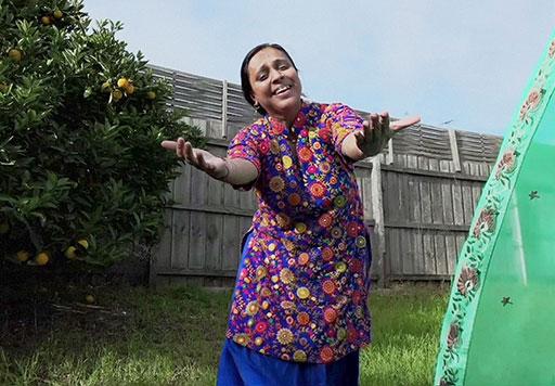 Naina dancing in her garden