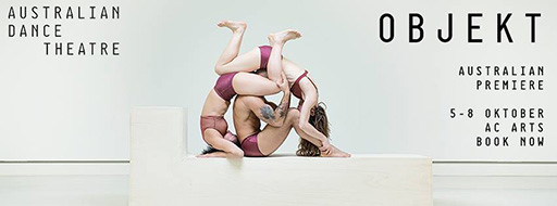 Australian Dance Theatre Objekt poster—three dancers circled together acrobatically into a wheel