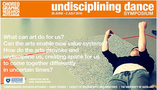 undisciplining dance symposium poster. 30 June – 2 July 2016