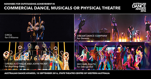 Nominee collage for commercial dance, musicals or physical theatre