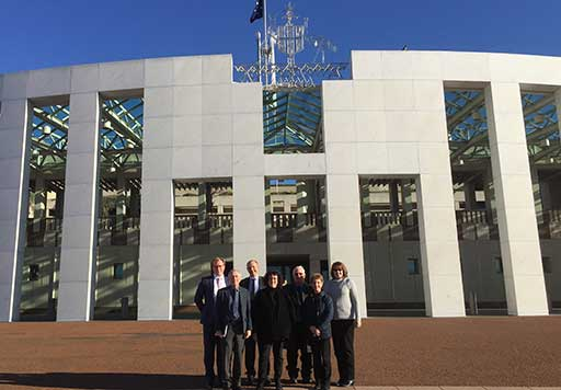 Members of National Advocates for Arts Education outside Parliament House, Canberra