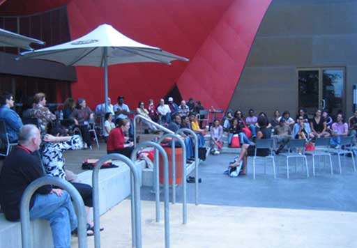 Outdoor discussion at the National Museum of Australia